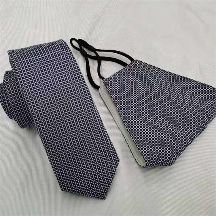 Wholesale Custom Woven Handmade Neck Tie And Dust Face Cover Set