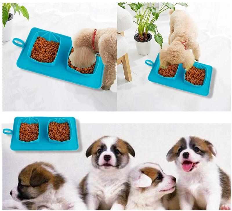 Еда подачи воды Pet Travel чаша для кошек и собак на открытом воздухе для домашнего использования Нескользящие Портативный Силиконовый складной домашних животных, миска для еды