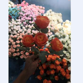Artificial silk rose flowers 4 heads for wedding decoration