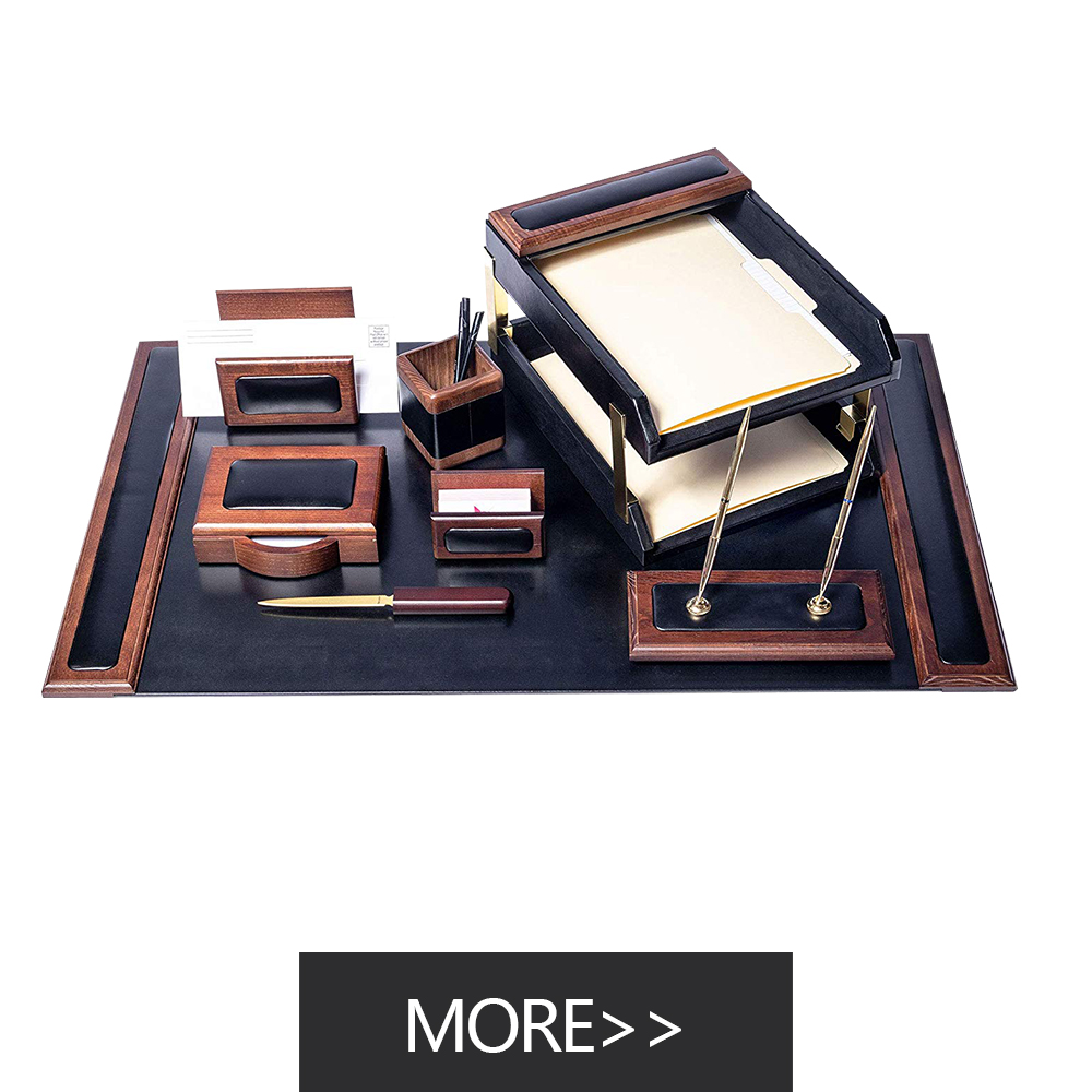buy best gift modern mens wooden leather office desk organizer set