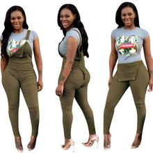 09968NA 2019 fashion army green burntout ripped jarretel potlood been casual womenjumpsuit <span class=keywords><strong>overalls</strong></span>