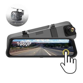 "9.7"" Full FHD Touch Screen Dual Lens Car Camera DVR Rearview Mirror Monitor for Car"