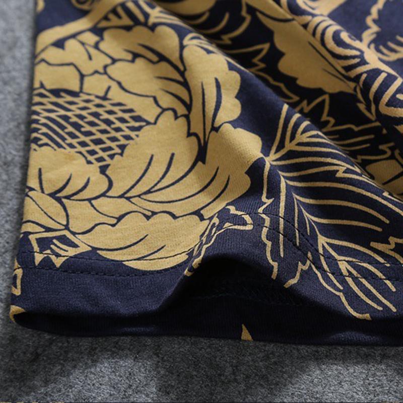 Print O-neck Cotton Tshirts Men T Shirt Homme Hip Hop New Is Popular Logo Summer Chinese Lotus Tattoo Half Sleeve Short 2019