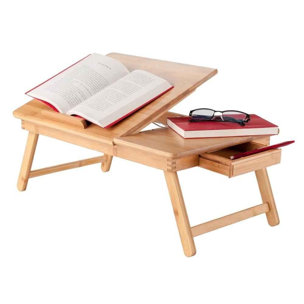 Dizüstü bilgisayar masası bilgisayar masası ayarlanabilir % 100% bambu katlanabilir kahvaltı hizmet yatak tepsisi w 'devirme üst çekmece