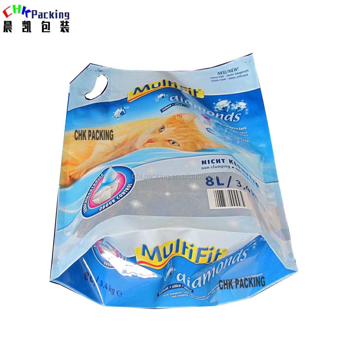 5L 6L 10L Custom Printed Laminated Material CHK Packing Cat Litter Packaging Bag plastic cat food pouch With Handle