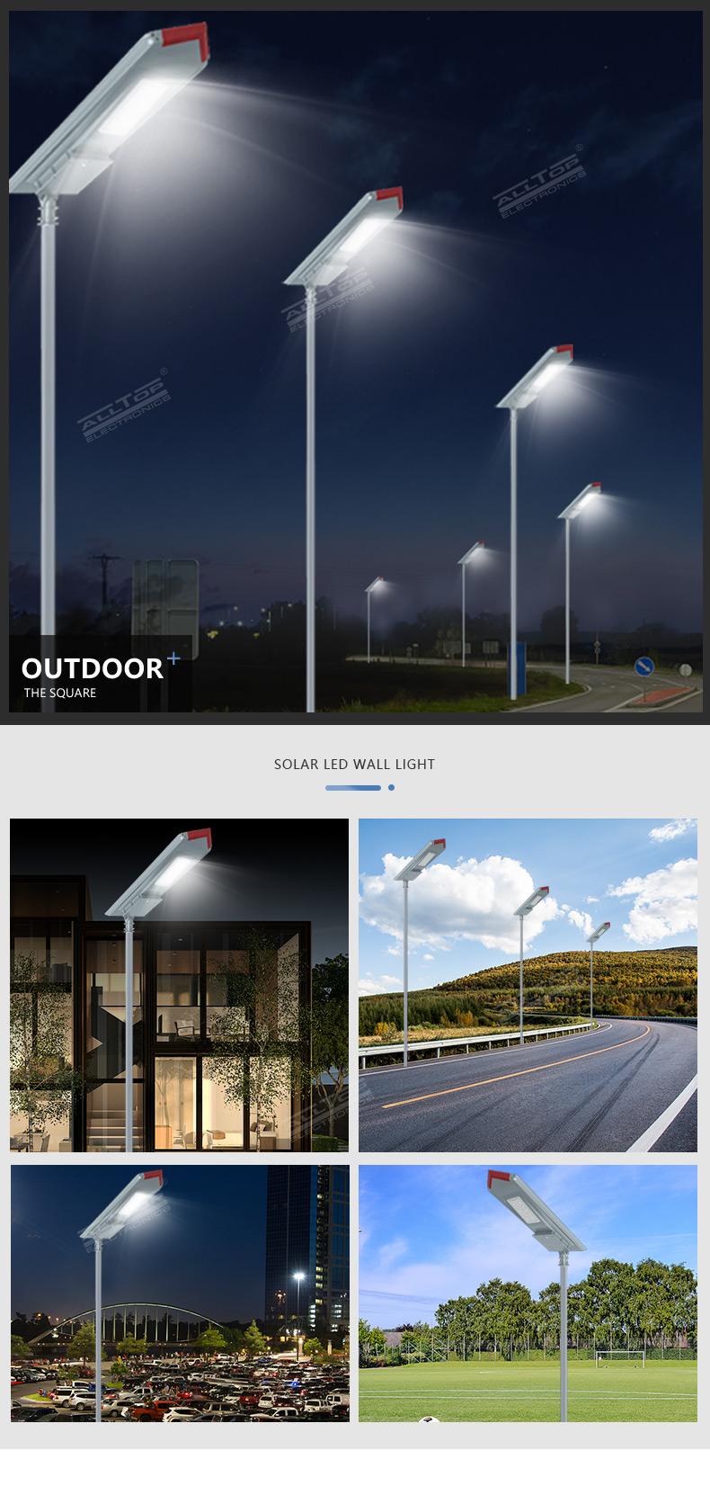 ALLTOP 150w outdoor waterproof ip65 integrated battery power all in one solar led street light
