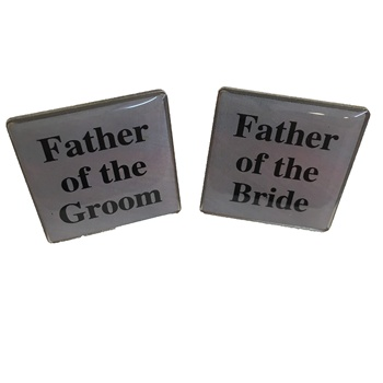 square printing Father of the Groom and Father of the Bride zinc alloy cufflink