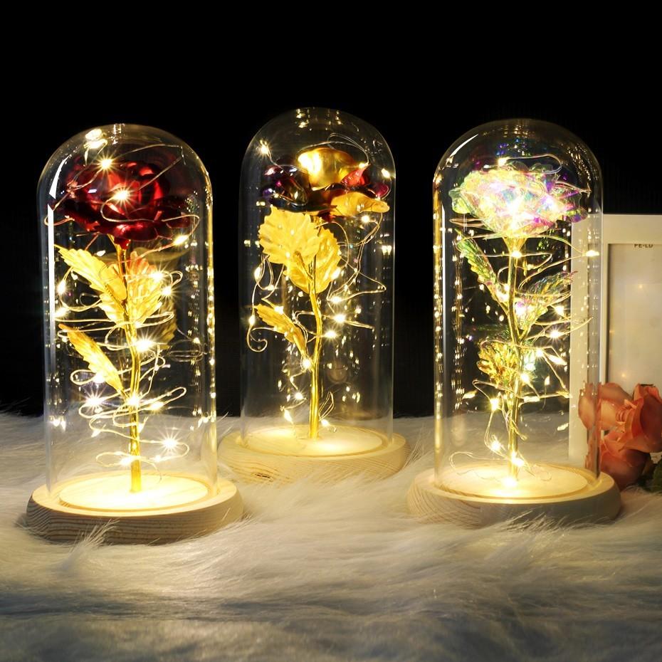 Lãng Mạn 6 Màu Sắc Rose Red LED Ánh Sáng Trong Một Glass Dome Cơ Sở Gỗ Cho Valentine 'S Day Quà Tặng Led Rose Đèn