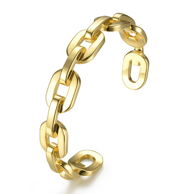 Fashion Jewelry Pure Form Big Link Chain Cuff Bracelets Gold Color Brass Bangles for Women Accessories Bijoux Wholesale 2033
