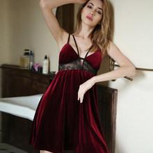 Сексуальная ночная рубашка, одежда для сна, повседневная одежда для сна, домашняя одежда, женская пижама, бархатная Пижама с глубоким v-образ...(Китай)