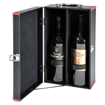 Handmade custom unique luxury twin double paper pu leather wine gift box for 2 bottle price