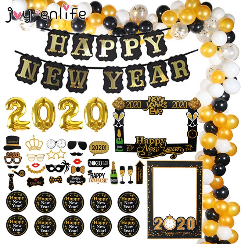 2020 balloons decorations happy new year banner photo props kit paper lantern pom poms for 2020 new years party supplies