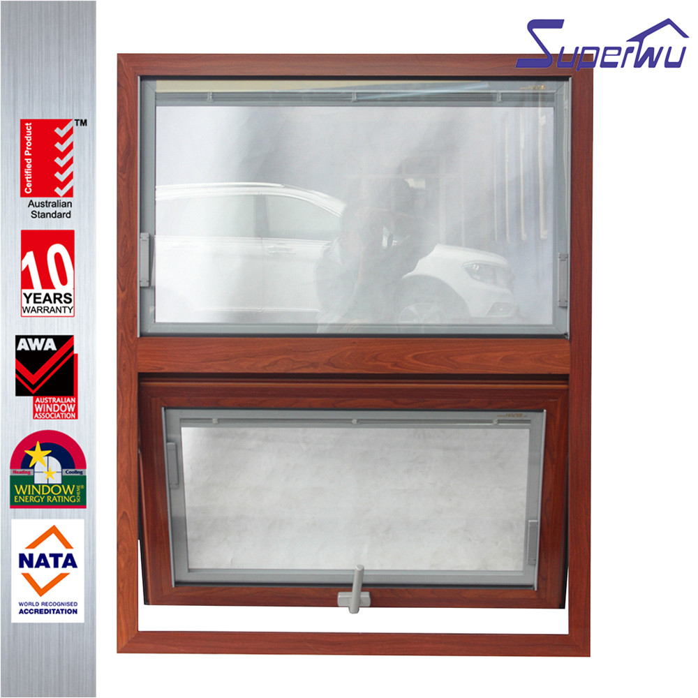 wooden look aluminum frame retractable flyscreen awning windows
