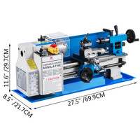 Chinese Metal Lathe 7x12 Precision Bench Top Mini Metal Milling Lathe Variable Speed 50-2500 RPM