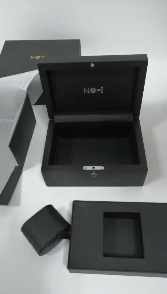핫 세일 럭셔리 블랙 인쇄 로고 나무 더블 슬롯 시계 상자