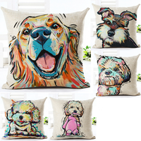 Dogs design 3D digital printing cotton linen cushion covers pillow covers