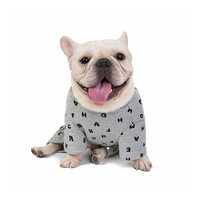 Custom Cute Print Pet Dog Clothes, Bulldog Alphabet Pajamas