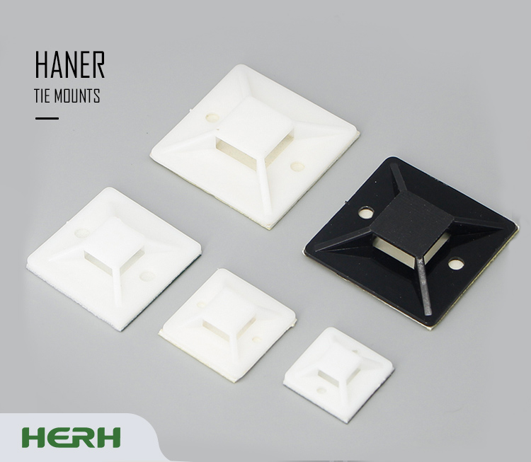 Herh High Quality ,socket for cable ties with PA66 94V-2 HR 20 Self Adhesive Cable Tie Mount