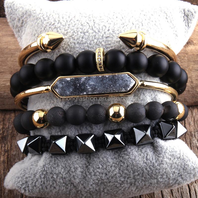 Fashion Boho Jewelry Natural Stone /& Druzy Bangle 5pc Bracelets Sets For Women