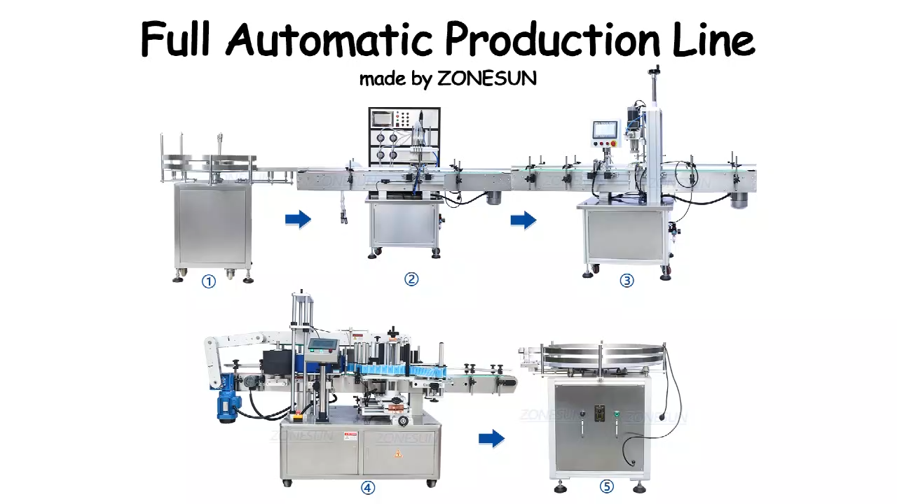 ZONESUN ZS-FAL180P2 Automatic Bottle Labeler Liquid Filling Capping And Labeling Machine Plastic Bottle Round