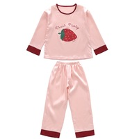 Girls sleepwear strawberry print satin girls night wears for kids teens girls pajama sets 2 pieces clothing set