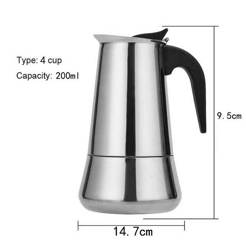 100 мл/200 мл/300 мл/450 мл Moka Express 2/4/6/9 чашек Ёмкость Нержавеющаясталь Кофе чайник горшок Кофе, тем самым позволяя зернам раскрыться предохраните...(Китай)