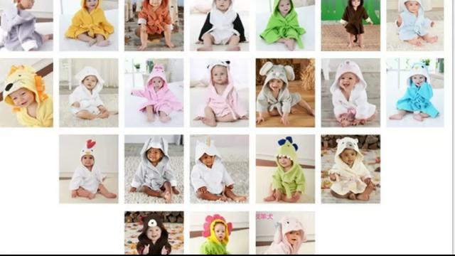 Wholesale Animal Cute Baby Robe Hooded Baby Children Bathrobe Spa Robe Animal Baby Towel Cotton Bathrobe,0-2 years old