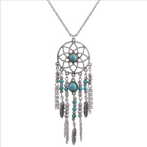 Folk wind set chain tassel feather turquoise necklace Bohemian necklace