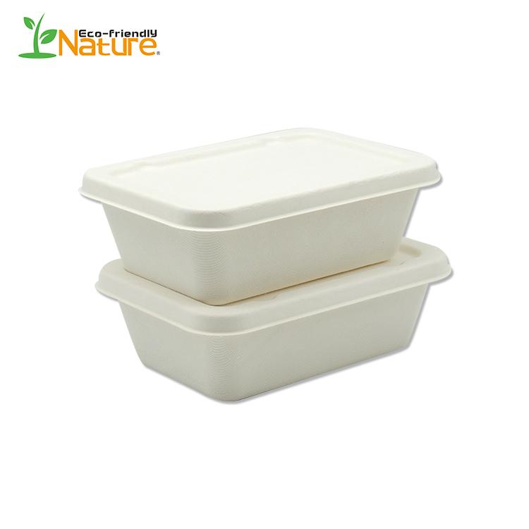 650mL Restaurant Disposable Biodegradable Sugarcane  Bagasse Lunch Box