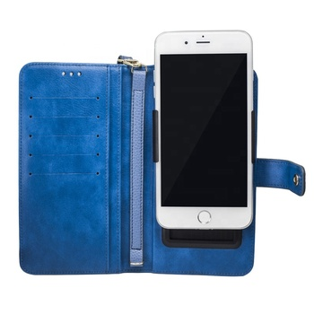 Fashionable carry-on PU leather hand strap universal flip wallet phone case for all mobile phone