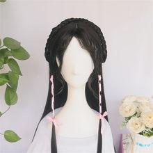 Парики WEILAI для женщин, винтажный парик Древний китайский парик, длинные прямые черные волосы, воздушный парик для моделирования, индивидуал...(Китай)