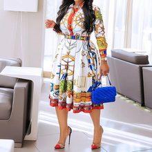 Женское плиссированное платье-халат размера плюс с высокой талией, элегантная офисная туника миди с геометрическим принтом в африканском с...(Китай)