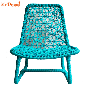 Green color stylish comfy rope woven outdoor garden recliner chair (delivery within 7 days)