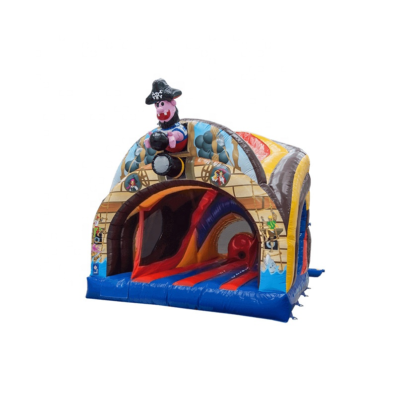 China Manufacture Cheap Price Sale Bouncer House 8ft Platform Curved Bounce 'n' Slide 3D Pirate Inflatable Castle