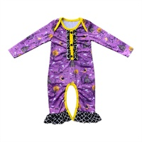 Hot sale fashion girls Halloween romper long sleeve boutique ruffle baby printed jumpsuit