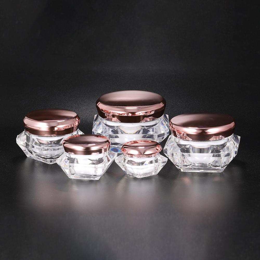 Hengsheng factory wholesale custom plastic acrylic rose gold cosmetic cream diamond shape jar