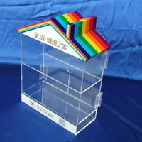 High quality customized size clear acrylic display storage box,house shape acrylic display box