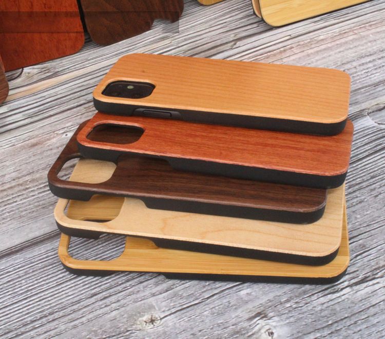 Natural Real Wood Phone case PC Blank cases for iPhone 11 Pro xs XR , Custom Engraving Logo wood mobile case