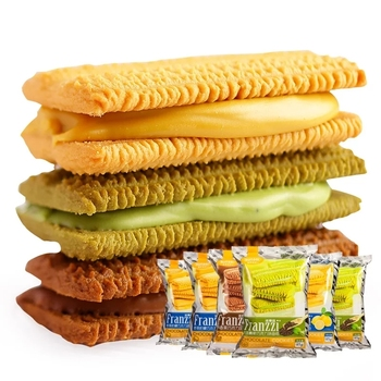 Low price healthy cookies sweet sachets filling biscuit