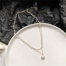 Скидка 90%, роскошное Двойное Жемчужное женское ожерелье с подвеской, аксессуары для коротких цепей для девочек, подарочные украшения для ба...(Китай)