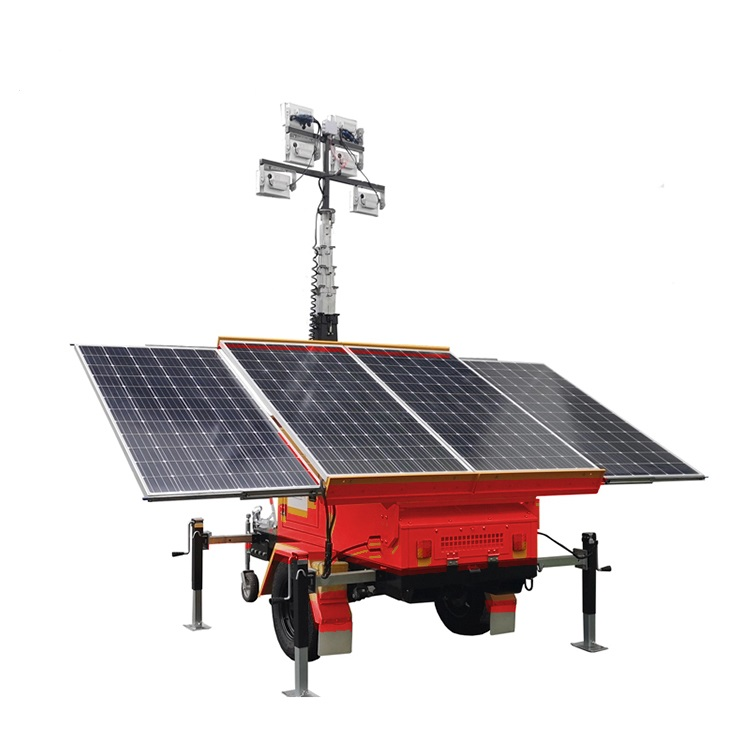 Mobile Trailer Power System Generator Mast Hydraulic Led Solar Light Tower for Mining Construction