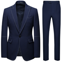 New Arrival Men Casual 2 Pieces Suits Wedding Single Button Blazer+Pants Suits Set For Men