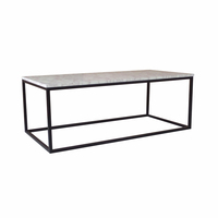 Living room furniture simple wooden coffee table with metal base wholesale