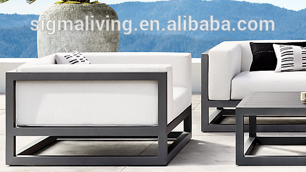 New arrival outdoor furniture with a U-shaped, continuous cushion forms the arms and back  aluminum lounge chair