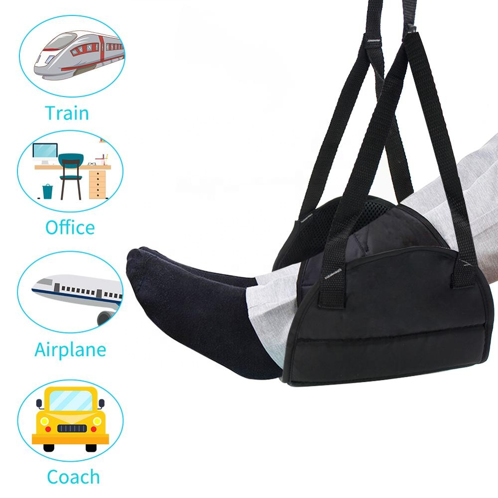 Folding Adjustable Memory Foam Travel Airplane Footrest Office Under Desk Carry-on Foot Rest Hammock