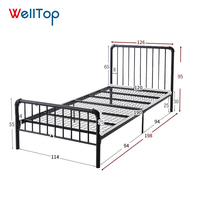 Veitop 2020 easy install bedroom furniture metal iron frame beds 14.020