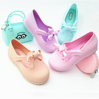 Children's casual sandals jieyang pink bow sandals kids water shoes babies shoes and sandals jelly school shoes for children