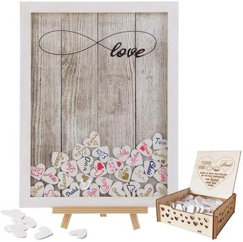 Wedding Guest Book Wooden Picture Frame Drop Top Frame Sign Book with 100PCS Wooden Hearts Rustic Wedding Decorations