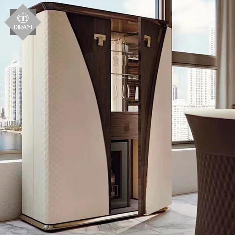 Italian royal modern wooden genuine leather wine VOGUE cabinet furniture design vitrine glass living room wine cabinets