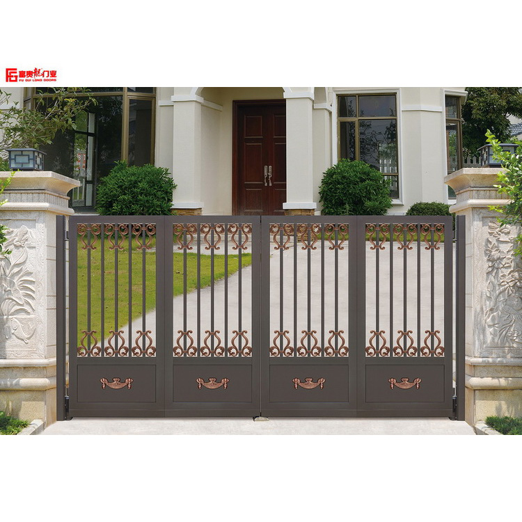 Aluminum suspended folding gate new design simple european style garden gate simple design door gray color door
